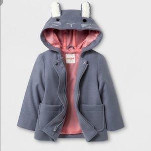 Cat & Jack Bunny Zip Up Peacoat Jacket 5T